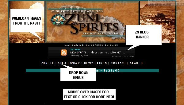 Screen shot of the new Zuni Spirits index page