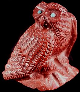 Mesmerizing pipestone owl - fabulous detail - by the talented Derrick Kaamasee | Price:  WAS $135.  | NOW ON SALE $ 54.  |  CLICK IMAGE for more views & information.