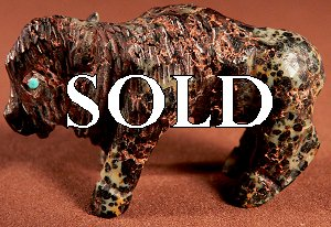 This handsome bison was carved by Clive Hustito from augite serpentine |  Price:  WAS $75.  | NOW ON SALE $42.  |  CLICK IMAGE for more views & information.