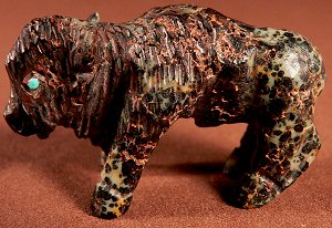 This handsome bison was carved by Clive Hustito from augite serpentine |  Price:  WAS $75.  | NOW ON SALE $60.  |  CLICK IMAGE for more views & information.