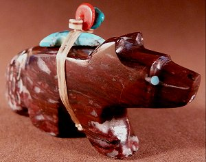 This beautiful wolf is carved  of 'Wild Horse' or magnasite hemative and he has all the usual features Emery Eriacho is known for |  Price: $65.   | NOW ON SALE $45.  |  CLICK IMAGE for more views & information.