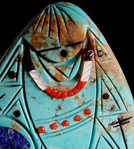 Vickie Quandelacy has chosen a beautiful turquoise stone to make this double-sided maiden with intricate detail and inlay|  Price:  WAS $225.  | NOW ON SALE $ 105.  |  CLICK IMAGE for more views & information.