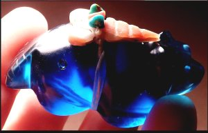 This beautiful cobalt blue slag glass badger is made by Leland Boone    Price:  WAS $65.    NOW ON SALE $ 54.     CLICK IMAGE for more views & information.