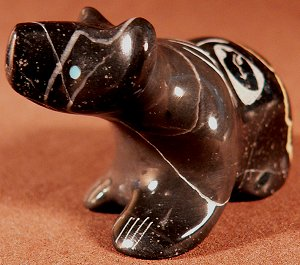Garrick Acque |  Price:  $60.    | Belgian marble | Bear with sgraffito etching |  CLICK IMAGE for more views & information.