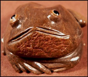 Ricky Laahty  | Price $195. | Zuni Mountain Travertine frog |  CLICK IMAGE for more views & information.