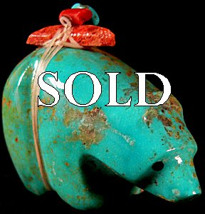 Emery Eriacho |  Price:  $60.    |Turquoise  | Bear with heartline  |  CLICK IMAGE for more views & information.