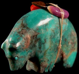 Priscilla Lasiloo  | Price $72. | Turquoise & Pyrite | Medicine Bear |  CLICK IMAGE for more views & information.