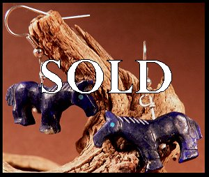Carol Martinez  | Price $95. | Afghan Lapis | Horse Earrings |  CLICK IMAGE for more views & information.