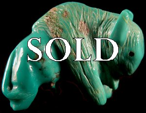 Lavies & Daisy Natewa   | Price $75. | Turquoise | Bull Bison |  CLICK IMAGE for more views & information.