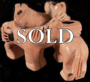 Carol Martinez   | Price $135. | Chocolate Serpentine | Trio of Horses  |  CLICK IMAGE for more views & information.