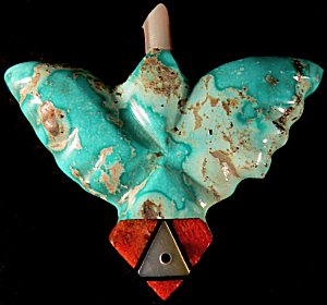 Peter Natachu   | Price $95. |Turquoise inlaid  |Eagle  |  CLICK IMAGE for more views & information.