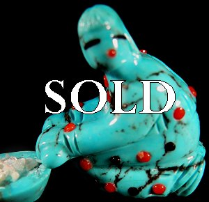 Randy Lucio  | Price $165. |Turquoise  | Corn grinder (3 pieces) |  CLICK IMAGE for more views & information.