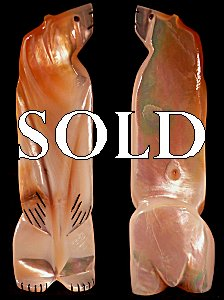 Michael Laweka   | Price $135. | Gold-lipped Mother of Pearl | Standing Bear |  CLICK IMAGE for more views & information.