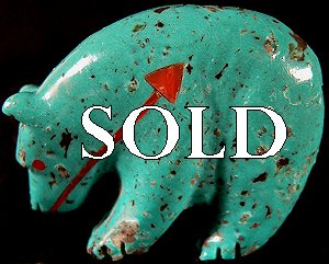 Andres Quandelacy   | Price $135. | Turquoise | Medicine Bear  |  CLICK IMAGE for more views & information.
