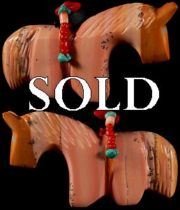 Rodney Laiwakete Dolomite Horse  |  Price  $60.   |  CLICK IMAGE for more views & information.