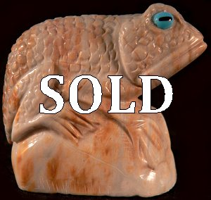 Hudson Sandy  |  Price $195.   | Picasso marble | Frog on a rock  |  CLICK IMAGE for more views & information.