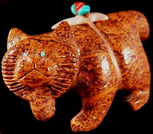 Brion Hattie   | Price $235.  | Vietnamese Jasper |  Bobcat |  CLICK IMAGE for more views & information.