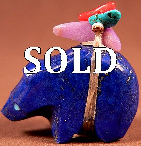 Emery Eriacho  |  Price $48.   |  Gem Afghan Lapis| Bear  |  CLICK IMAGE for more views & information.