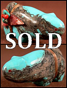 Leland Boone |  Price $60.   |  Turquoise  | Old Style Mountain Lion |  CLICK IMAGE for more views & information.