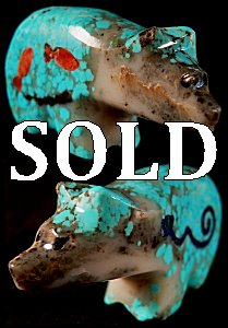 Jayne Quam | Turquoise | Inlaid Bear | Price: $95. |  CLICK  IMAGE for more views & information.