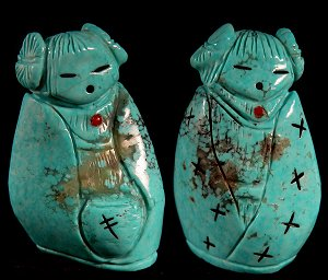 Faye Quandelacy | Turquoise | Double Hopi Maiden | Price was $225.  - Now $165.  |  CLICK IMAGE for more views & information.