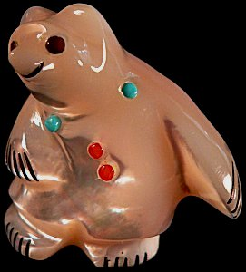 Claudia Peina | Mother of Pearl | Standing Bear | Price: $95. | CLICK  IMAGE for more views & information.
