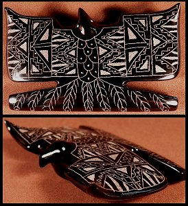 Curtis Garcia | Black Marble  | Sgraffito eagle | Price: $165. |CLICK  IMAGE for more views & information.