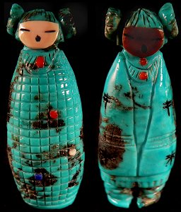 Faye Quandelacy | Turquoise | Double maidens | Price: $150. | CLICK  IMAGE for more views & information.