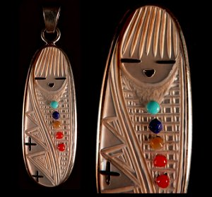 Stuart Quandelacy | Mother of Pearl, Sterling Silver | Corn Maiden Pendant | Price: $195.  |CLICK  IMAGE for more views & information.