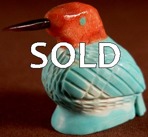 Edison Bobelu | Turquoise & Coral | Hummingbird | Price: $42. |CLICK  IMAGE for more views & information.