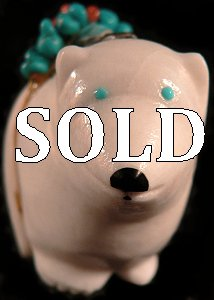 Delvin Leekya | White marble | Medicine Bear | Price: $95.|CLICK  IMAGE for more views & information.