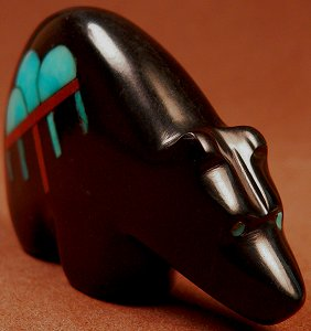 Emery Boone | Jet & Turquoise | Inlaid Bear | Price: $65 |CLICK  IMAGE for more views & information.
