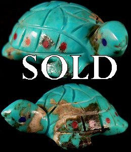 Georgia Quandelacy | Turtle | Turquoise | Price: $95. |CLICK  IMAGE for more views & information.