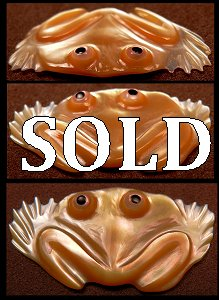Ricky Laahty   Gold lipped Mother-of-Pearl   Frog   Price: $90.  CLICK  IMAGE for more views & information.