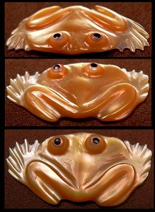 Ricky Laahty | Gold lipped Mother-of-Pearl | Frog | Price: $90. |CLICK  IMAGE for more views & information.
