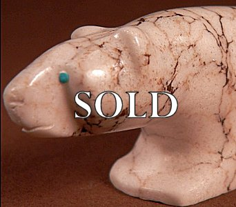 Julius Yuselew (d.)|  Howlite | Bear  | Price: $275. +  $11.25  domestic shipping | CLICK  IMAGE for more views & information.