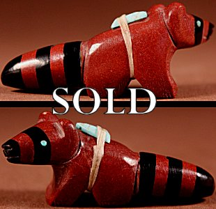 Fitz Kiyite  | Pipestone-Jet  | Racoon  | Price: $54. +  $9.25  domestic shipping | Texas sales tax applies to Texas Residents! | CLICK  IMAGE for more views & information. | Authentic Zuni fetishes direct from Zuni Pueblo to YOU from Zunispirits.com!