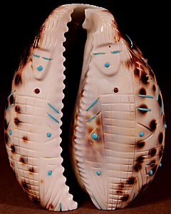 Ed Lementino | Large Cowry Shell  | Four Corn Maidens   | Price: $72. +  $9.25  domestic shipping | Texas sales tax applies to Texas Residents! | CLICK  IMAGE for more views & information. | Authentic Zuni fetishes direct from Zuni Pueblo to YOU from Zunispirits.com!