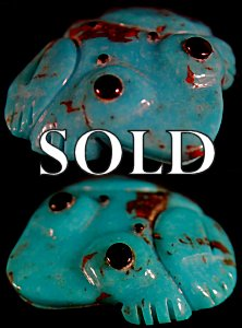 Georgette Quam | Turquoise   | Frog  | Price: $48. +  $8.00  domestic shipping | Texas sales tax applies to Texas Residents! | CLICK  IMAGE for more views & information. | Authentic Zuni fetishes direct from Zuni Pueblo to YOU from Zunispirits.com!