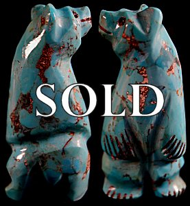 Arnie Calavaza | Turquoise   | Standing Bear  | Price: $48. +  $8.00  domestic shipping | Texas sales tax applies to Texas Residents! | CLICK  IMAGE for more views & information. | Authentic Zuni fetish