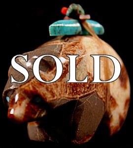 Emery Eriacho | Septarian nodule  | Bear  | Price: $48. +  $8.00  domestic shipping | Texas sales tax applies to Texas Residents! | CLICK  IMAGE for more views & information. | Authentic Zuni fetish