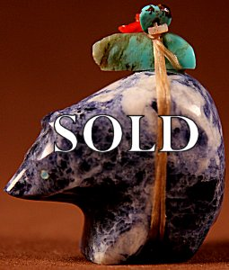 Emery Eraicho | Sodalite   | Bear   | Price: $42. +  $8.00  domestic shipping | Texas sales tax applies to Texas Residents! | CLICK  IMAGE for more views & information. | Authentic Zuni fetishes direct from Zuni Pueblo to YOU from Zunispirits.com!
