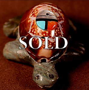 Fabian Homer  | Cowrie shell   | Turtle   | Price WAS: $36. |    SALE PRICE:   $24.  +  $8.50  domestic shipping | Texas sales tax applies to Texas Residents! | CLICK  IMAGE for more views & information. | Authentic Zuni fetishes direct from Zuni Pueblo to YOU from Zunispirits.com!