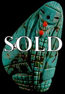Kateri Sanchez | Turquoise   | Corn maiden | Price: $95. +  $8.50  domestic shipping | Texas sales tax applies to Texas Residents! | CLICK  IMAGE for more views & information. | Authentic Zuni fetish