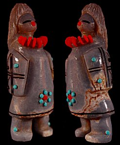 Claudia Peina | Angelite  | Zuni Maiden   | Price: $180. +  $10.00  domestic shipping | Texas sales tax applies to Texas Residents! | CLICK  IMAGE for more views & information. | Authentic Zuni fetishes direct from Zuni Pueblo to YOU from Zunispirits.com!