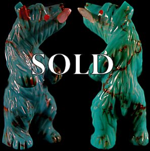 Andres Quandelacy  | Turquoise  | Standing Bear with Fish  | Price: $95. +  $8.50  domestic shipping | Texas sales tax applies to Texas Residents! | CLICK  IMAGE for more views & information. | Authentic Zuni fetishes direct from Zuni Pueblo to YOU from Zunispirits.com!