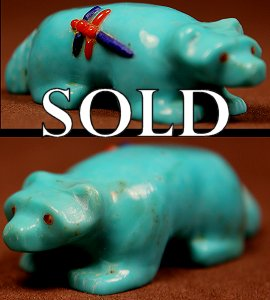Clissa Martin  | Turquoise | Inlaid Badger | Price: $54. +  $9.25   domestic shipping | Texas sales tax applies to Texas Residents! | CLICK  IMAGE for more views & information. | Authentic Zuni fetishes direct from Zuni Pueblo to YOU from Zunispirits.com!