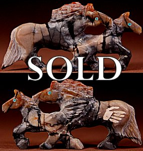 Carol Martinez  | Picasso Marble   | Double Horses   | Price: $125. +  $10.00  domestic shipping | Texas sales tax applies to Texas Residents! | CLICK  IMAGE for more views & information. | Authentic Zuni fetishes direct from Zuni Pueblo to YOU from Zunispirits.com!