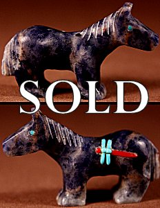 Clissa Martin  | Denim Lapis   | Inlaid Horse   | Price: $125. +  $10.00  domestic shipping | Texas sales tax applies to Texas Residents! | CLICK  IMAGE for more views & information. | Authentic Zuni fetishes direct from Zuni Pueblo to YOU from Zunispirits.com!