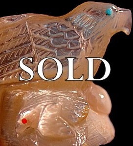 Derrick Kaamasee | Mother-of-pearl   | Eagle's Nest | Price  WAS: $165.     SALE: $95.+  $9.25  domestic shipping | Texas sales tax applies to Texas Residents! | CLICK  IMAGE for more views & information. | Authentic Zuni fetish